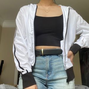 F21 White Windbreaker with Side Stripes
